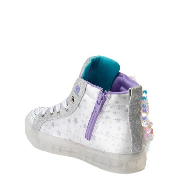 alternate view Skechers Twinkle Toes Shuffle Brights Sneaker - Little Kid - White / SilverALT2
