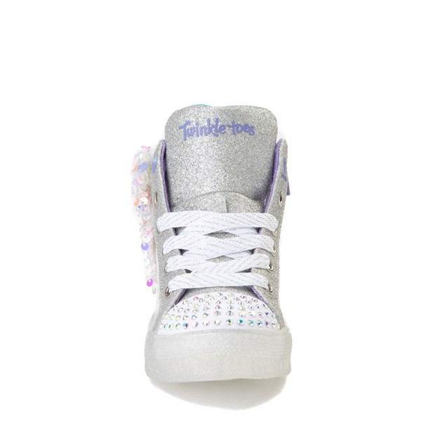 alternate view Skechers Twinkle Toes Shuffle Brights Sneaker - Little Kid - White / SilverALT4