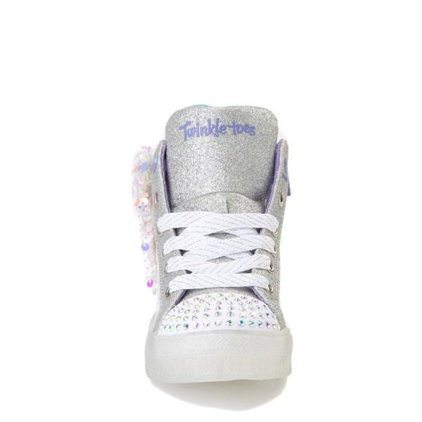 alternate view Skechers Twinkle Toes Shuffle Brights Sneaker - Little Kid - White / SilverALT4