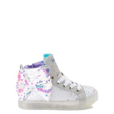 Main view of Skechers Twinkle Toes Shuffle Brights Sneaker - Little Kid - White / Silver