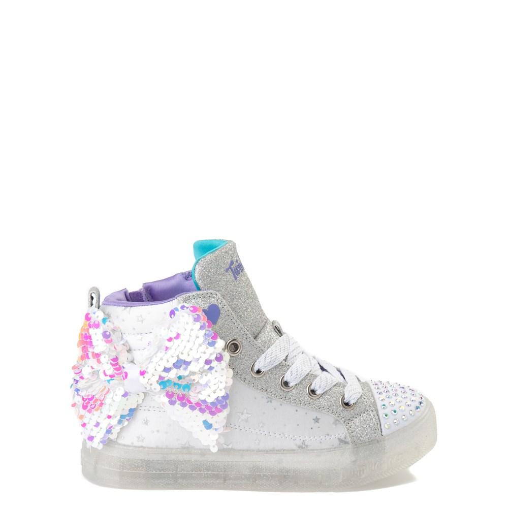 Skechers Twinkle Toes Shuffle Brights Sneaker - Little Kid - White / Silver