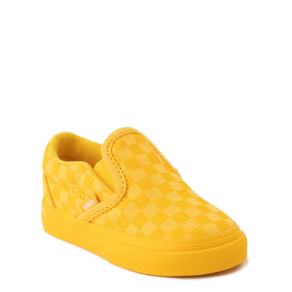 alternate view Vans Slip On Tonal Checkerboard Skate Shoe - Baby / Toddler - Spectra YellowALT5