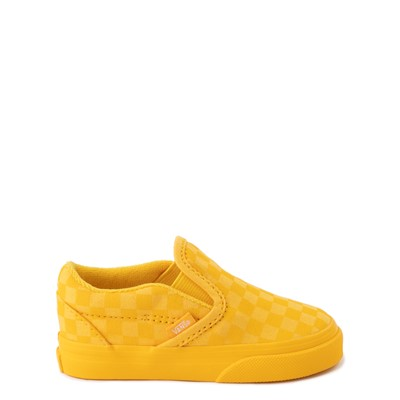Main view of Vans Slip On Tonal Checkerboard Skate Shoe - Baby / Toddler - Spectra Yellow