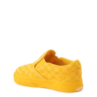 Alternate view of Vans Slip On Tonal Checkerboard Skate Shoe - Baby / Toddler - Spectra Yellow