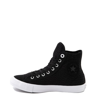 Alternate view of Womens Converse Chuck Taylor All Star Hi Crochet Sneaker - Black