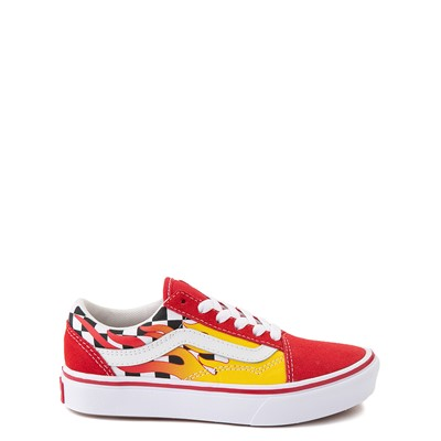 Main view of Vans Old Skool ComfyCush® Checkerboard Skate Shoe - Little Kid - Red / Flame