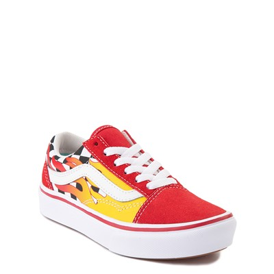 Alternate view of Vans Old Skool ComfyCush® Checkerboard Skate Shoe - Little Kid - Red / Flame