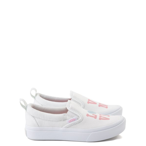 Main view of Vans Slip On ComfyCush® Autism Awareness Love Skate Shoe - Little Kid - White / Pink
