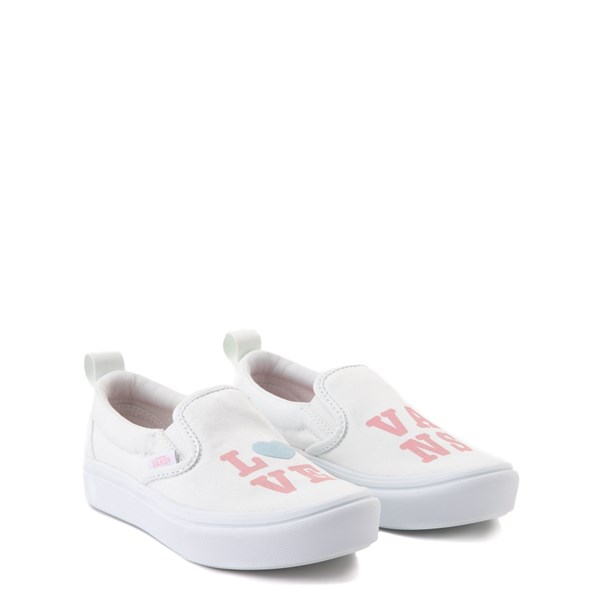 alternate view Vans Slip On ComfyCush® Autism Awareness Love Skate Shoe - Little Kid - White / PinkALT1