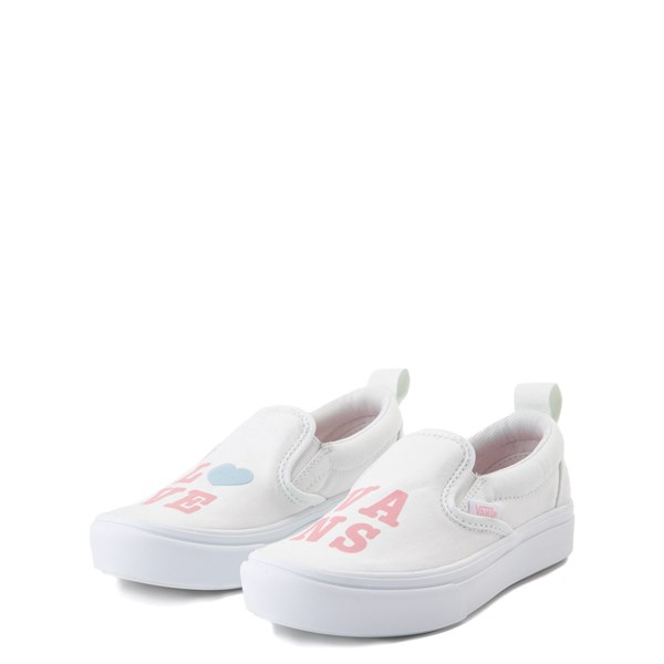 alternate view Vans Slip On ComfyCush® Autism Awareness Love Skate Shoe - Little Kid - White / PinkALT3