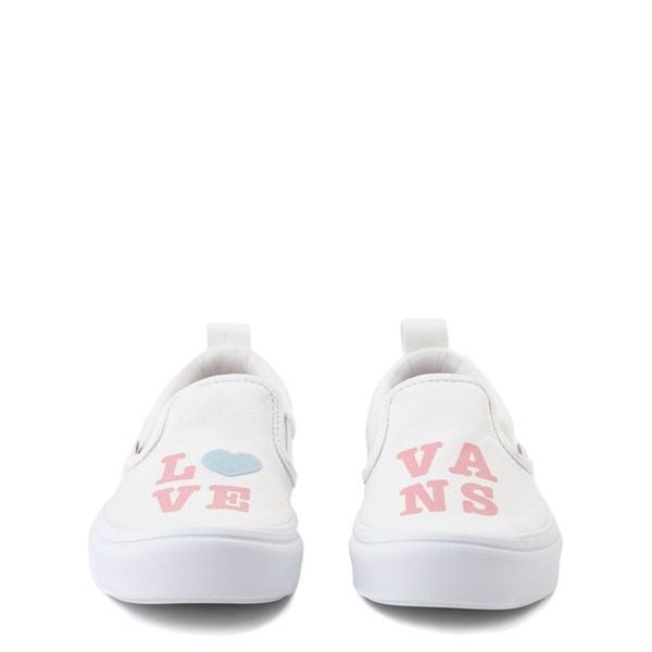 alternate view Vans Slip On ComfyCush® Autism Awareness Love Skate Shoe - Little Kid - White / PinkALT4