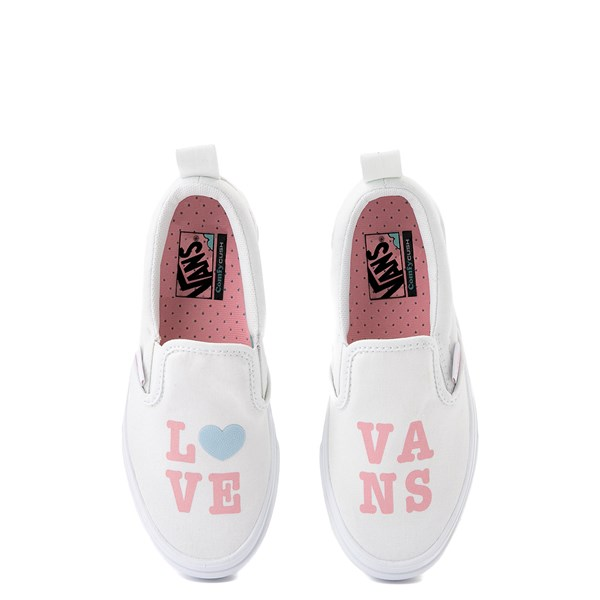 alternate view Vans Slip On ComfyCush® Autism Awareness Love Skate Shoe - Little Kid - White / PinkALT4B