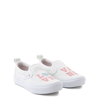Alternate view of Vans Slip On ComfyCush® Autism Awareness Love Skate Shoe - Little Kid - White / Pink