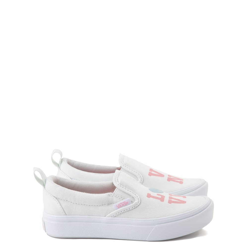Vans Slip On ComfyCush® Autism Awareness Love Skate Shoe - Little Kid - White / Pink