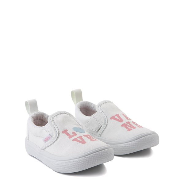 alternate view Vans Slip On ComfyCush® Autism Awareness Love Skate Shoe - Baby / Toddler - White / PinkALT1