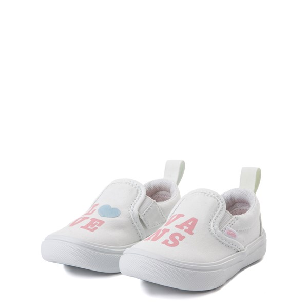 alternate view Vans Slip On ComfyCush® Autism Awareness Love Skate Shoe - Baby / Toddler - White / PinkALT3