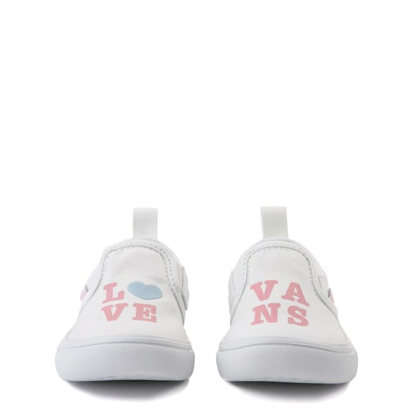alternate view Vans Slip On ComfyCush® Autism Awareness Love Skate Shoe - Baby / Toddler - White / PinkALT4