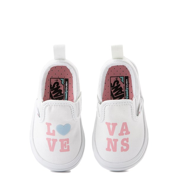 alternate view Vans Slip On ComfyCush® Autism Awareness Love Skate Shoe - Baby / Toddler - White / PinkALT4B