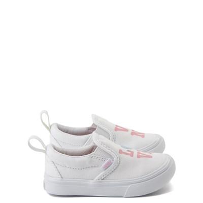 Main view of Vans Slip On ComfyCush® Autism Awareness Love Skate Shoe - Baby / Toddler - White / Pink