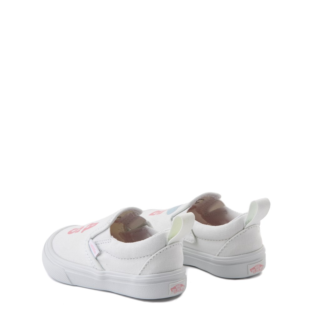 Vans Slip On ComfyCush® Autism Awareness Love Skate Shoe Baby Toddler White Pink