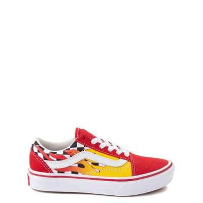 Main view of Vans Old Skool ComfyCush® Checkerboard Skate Shoe - Big Kid - Red / Flame