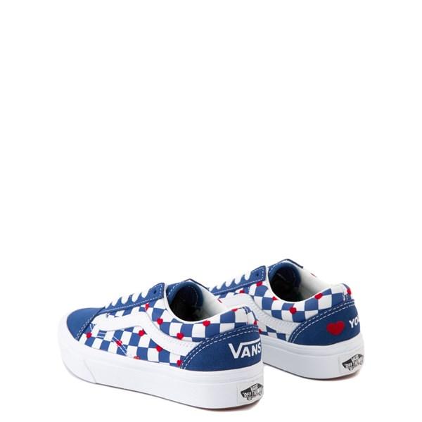 alternate view Vans Old Skool ComfyCush® Autism Awareness Checkerboard Skate Shoe - Little Kid - Blue / WhiteALT2