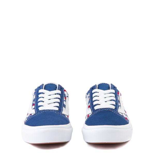 alternate view Vans Old Skool ComfyCush® Autism Awareness Checkerboard Skate Shoe - Little Kid - Blue / WhiteALT4