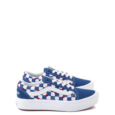 Main view of Vans Old Skool ComfyCush® Autism Awareness Checkerboard Skate Shoe - Little Kid - Blue / White