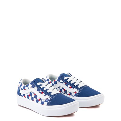 Alternate view of Vans Old Skool ComfyCush® Autism Awareness Checkerboard Skate Shoe - Little Kid - Blue / White