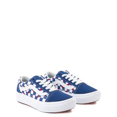 Alternate view of Vans Old Skool ComfyCush® Autism Awareness Checkerboard Skate Shoe - Little Kid - Blue / White
