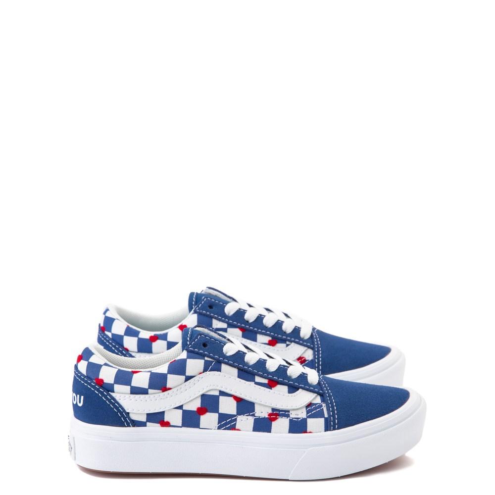 Vans Old Skool ComfyCush® Autism Awareness Checkerboard Skate Shoe - Little Kid - Blue / White