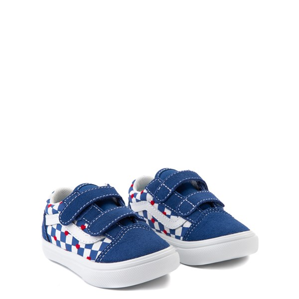alternate view Vans Old Skool V ComfyCush® Autism Awareness Checkerboard Skate Shoe - Baby / Toddler - Blue / WhiteALT1