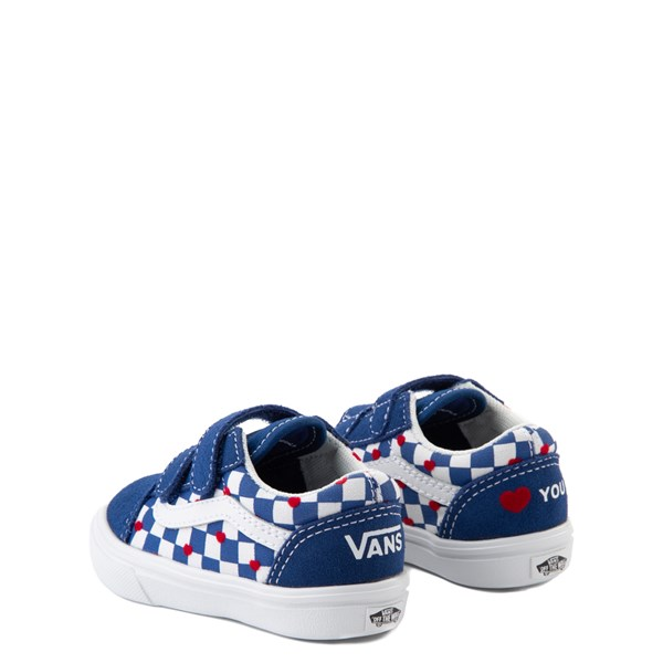 alternate view Vans Old Skool V ComfyCush® Autism Awareness Checkerboard Skate Shoe - Baby / Toddler - Blue / WhiteALT2
