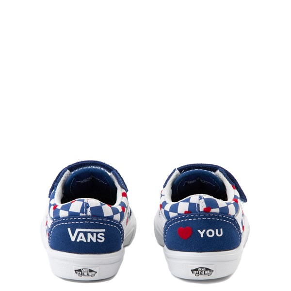 alternate view Vans Old Skool V ComfyCush® Autism Awareness Checkerboard Skate Shoe - Baby / Toddler - Blue / WhiteALT2B