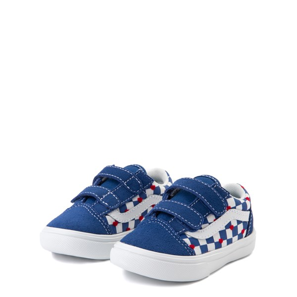 alternate view Vans Old Skool V ComfyCush® Autism Awareness Checkerboard Skate Shoe - Baby / Toddler - Blue / WhiteALT3