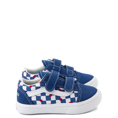 Main view of Vans Old Skool V ComfyCush® Autism Awareness Checkerboard Skate Shoe - Baby / Toddler - Blue / White