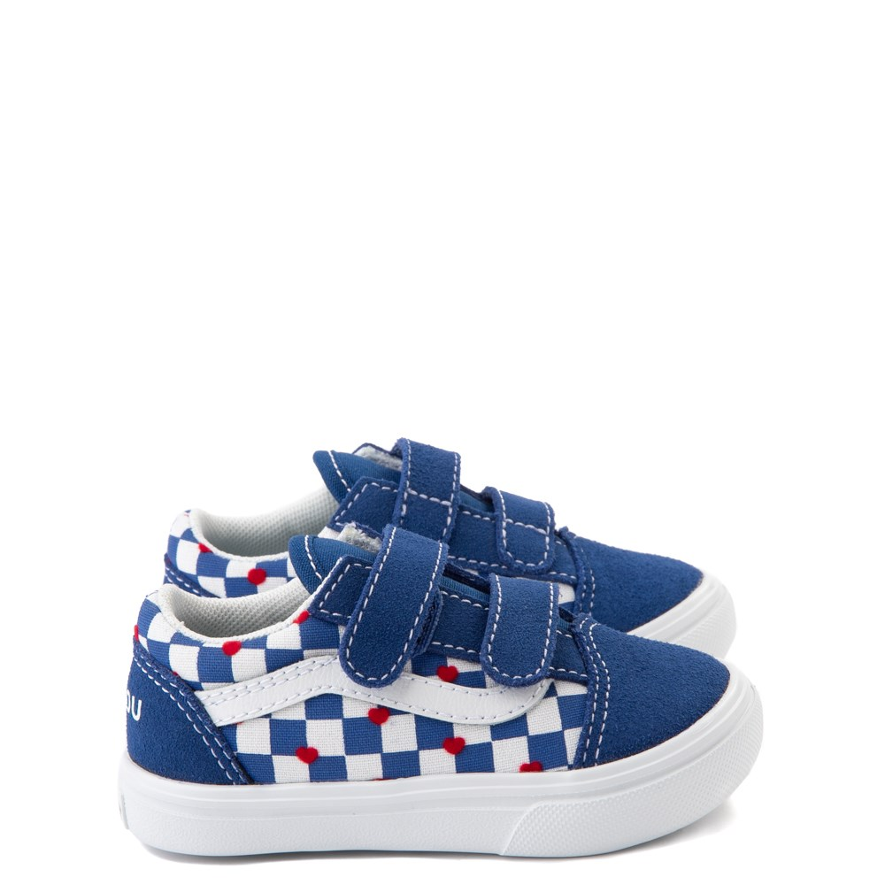 Vans Old Skool V ComfyCush® Autism Awareness Checkerboard Skate Shoe - Baby / Toddler - Blue / White