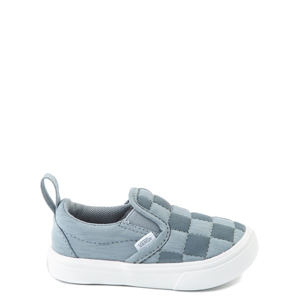Main view of Vans Slip On ComfyCush® Autism Awareness Checkerboard Skate Shoe - Baby / Toddler - Gray