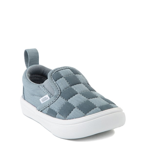 alternate view Vans Slip On ComfyCush® Autism Awareness Checkerboard Skate Shoe - Baby / Toddler - GrayALT1