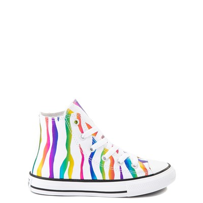 Main view of Converse Chuck Taylor All Star Hi Zebra Sneaker - Little Kid / Big Kid - White / Rainbow