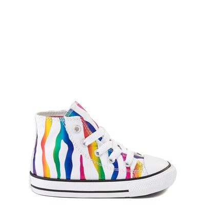 Main view of Converse Chuck Taylor All Star Hi Zebra Sneaker - Baby / Toddler - White / Rainbow