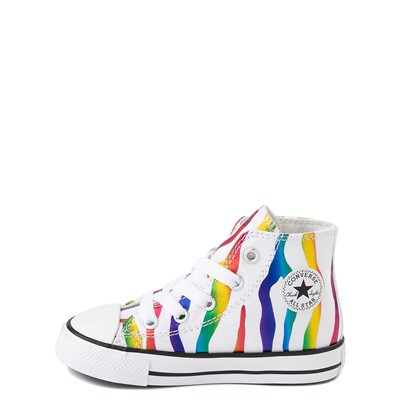 Alternate view of Converse Chuck Taylor All Star Hi Zebra Sneaker - Baby / Toddler - White / Rainbow