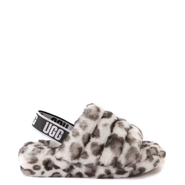 Main view of Womens UGG® Fluff Yeah Slide Sandal - White Leopard