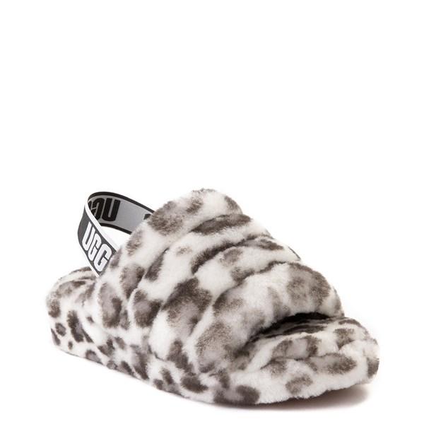alternate view Womens UGG® Fluff Yeah Slide Sandal - White LeopardALT1