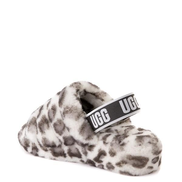alternate view Womens UGG® Fluff Yeah Slide Sandal - White LeopardALT2