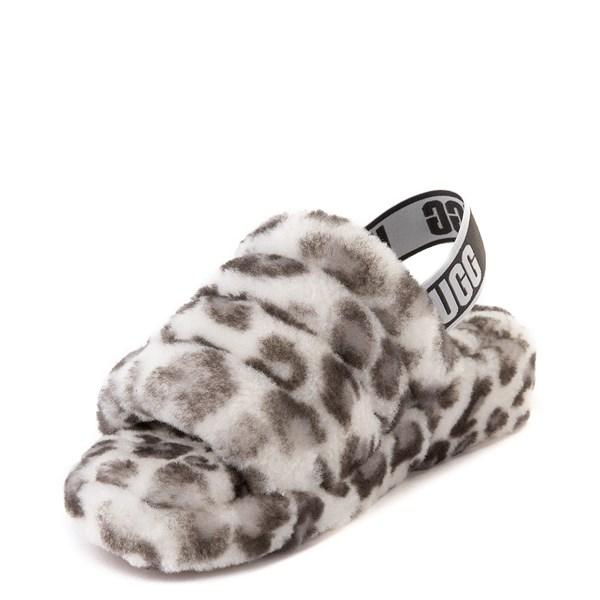 alternate view Womens UGG® Fluff Yeah Slide Sandal - White LeopardALT3