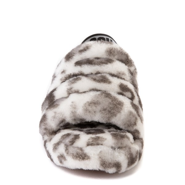 alternate view Womens UGG® Fluff Yeah Slide Sandal - White LeopardALT4