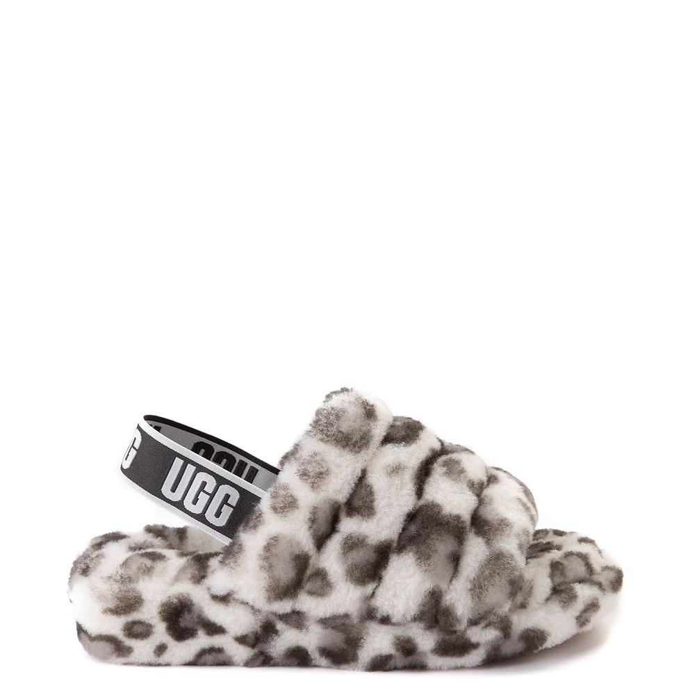 Womens UGG® Fluff Yeah Slide Sandal - White Leopard
