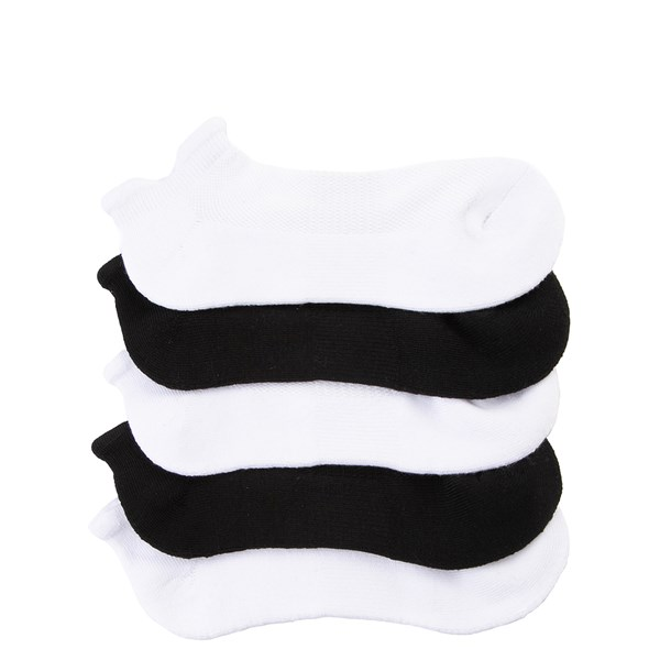Womens Double Tab No Show Socks 5 Pack - Black / White