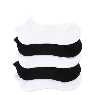 Main view of Womens Double Tab No Show Socks 5 Pack - Black / White